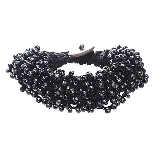 Rosemarie Collections Women's Crochet Multi Strand Seed Bead Wrap Bracelet (Black and Hematite)