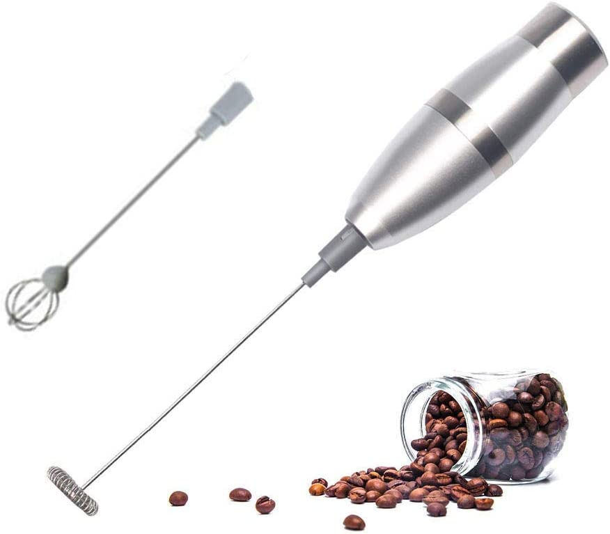 Milk Frother with Stainless Steel Whisk & Stand Handheld Battery-Operated Drink Mixer, Coffee Frother, Milk Foamer, Cappuccino Maker, Great for Bulletproof Coffee, Oil & Matcha Latte