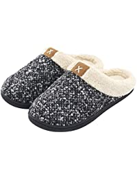 Women's Comfort Memory Foam Slippers Wool-Like Plush Fleece Lined House Shoes w/Indoor, Outdoor Anti-Skid Rubber Sole