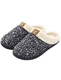 ULTRAIDEAS Women's Comfort Memory Foam Slippers Wool-Like Plush Fleece Lined Indoor & Outdoor House Shoes