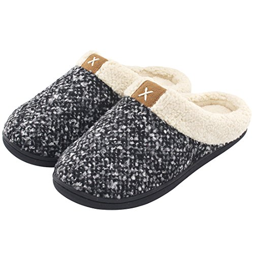 Women's Comfort Memory Foam Slippers Wool-Like Plush Fleece Lined House Shoes w/Indoor, Outdoor Anti-Skid Rubber Sole (Medium / 7-8 B(M) US, Black)