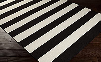 Amazon Com Hand Woven Jailhouse Modern Stripe Jet Black And White
