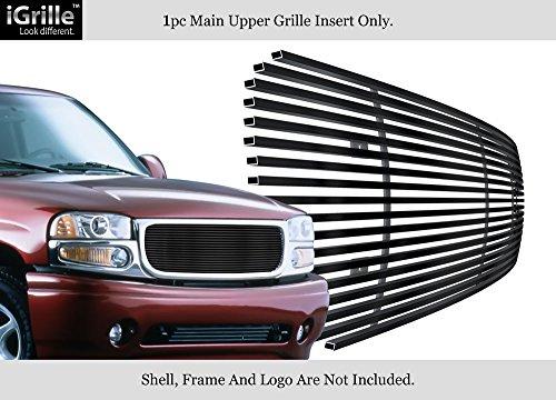 Stainless Steel 304 Black Billet Grille Grill Custome Fits 99-02 GMC Sierra/00-06 Yukon Upper - Gmc Denali Sierra Grille Insert