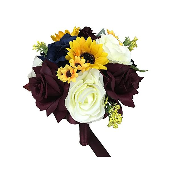 Angel Isabella, LLC Build Wedding Package – Beautiful Fall Wedding Marine Navy, Wine Burgundy, Ivory, Sunflowers Artificial Flower (8″ Bouquet Style A)