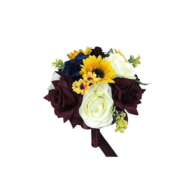 "silk flower arrangements build wedding package - beautiful fall wedding marine navy, wine burgundy, ivory, sunflowers artificial flower (8"" bouquet style a)"