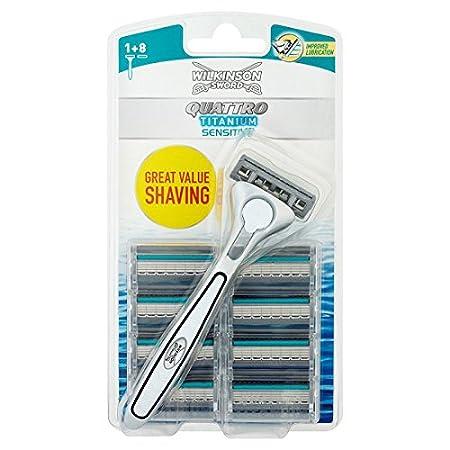 Wilkinson Sword Quattro Titanium Sensitive Refill Razor Blade Cartridges - Pack of 8 Cartridges Energizer Group 70050990