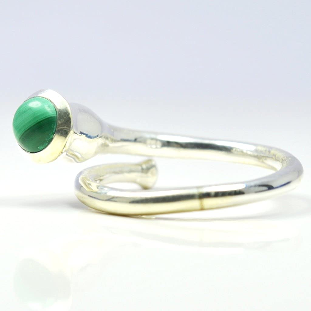 Gemsonclick Natural Round Shape Malachite Ring Simple 925 Sterling Silver Handmade Adjust Ring Size 4-13