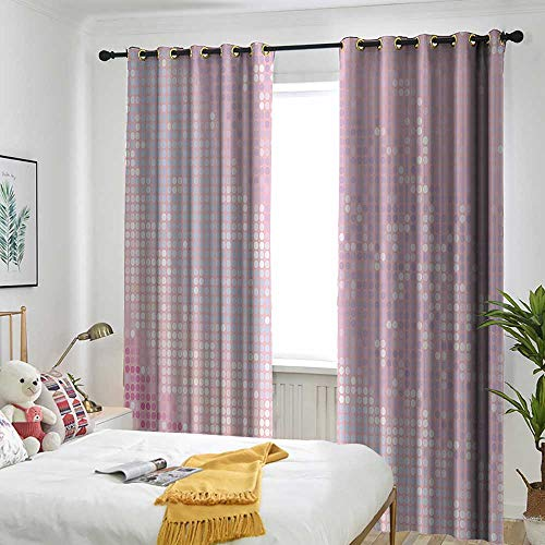 AndyTours Modern Thermal Insulated Blackout Curtains Abstract Pattern in Pastel Pink Tones Disco Ball Style Party Theme Artwork Curtain Liner Mildew Resistant 96
