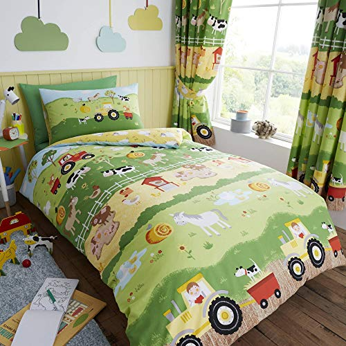 Happy Linen Company Childrens Boys Girls Farm Animals Counting Sheep Green Yellow Reversible UK Double/US Full Duvet Cover Set (Uk Cheap Sets Bedroom)