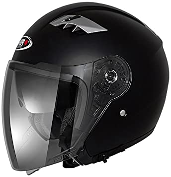 Shiro Jet Casco sh-414, Avant, color negro mate, talla L