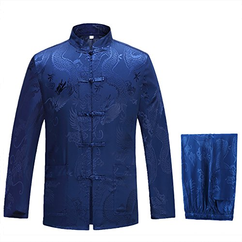 KIKIGOAL Mens Martial Arts Kung Fu Uniform Long Sleeve Tang Suit With Dargon Pattern (XXL, blue)