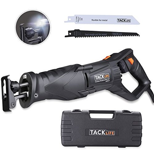 6t Saw (Reciprocating Saw, Adjustable Rotating Blades - Tacklife Saw with 7 Amp, 2 LED, Extra 2 Blades (Wood 6T and Metal 14T), Variable Speed Trigger / Tool-Less Blade Change / Shoe Adjustment - RPRS01A)