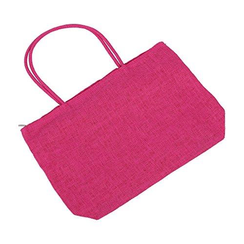 Straw Cremallera rosa Compras Roja De r Con Beach Sodial Bolsa Asas Ladies Viajar Bolsa Weaving Verano t7zAxqfw
