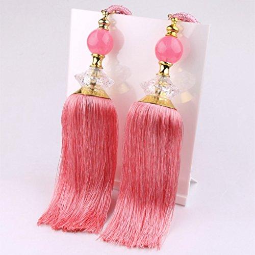 - AOBRITON 2 PCS Big Jade Crystal Hanging Ball Tassel Curtain Tieback Hook Belt Tied Rope
