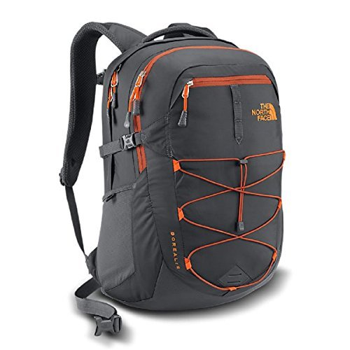 The North Face Borealis Backpack in Asphalt Grey/Picante Red