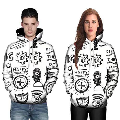(Mens Mode 3D Abstract Print Tops,Cinsanong Mens Couples Hoodies Long Sleeve Loose)
