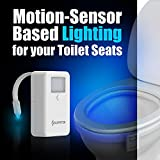 16-Color Motion Activated Toilet Light Night [FREE BATTERIES INCLUDED] Toilit Light LED Light Changing Tolet Bowl Nightlight for Bathroom Perfect Decorating illumibowl Water Toilite Light