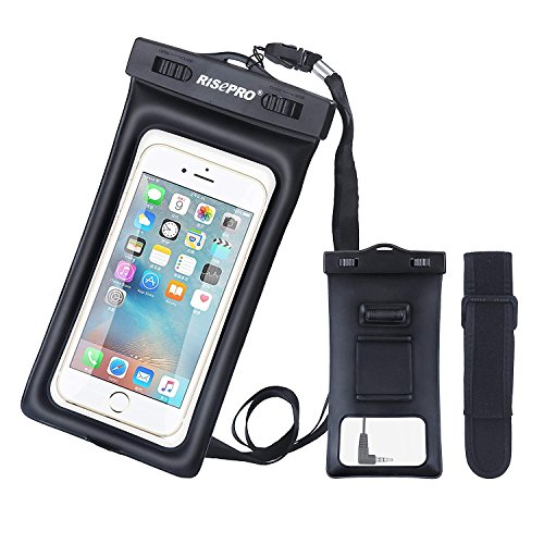 RISEPRO Waterproof Case, Floatable Underwater Pouch Dry Bag with Armband & Audio Jack for iPhone 6, 6 Plus, 6s, 6s Plus, 5, 5s, Samsung Galaxy s6 HTC Screen Touchable IPX8 100FT FB1710-BK…