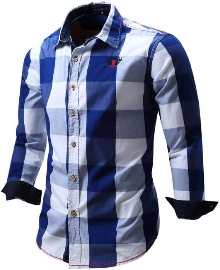 YFSLC-Studio Camisa De Manga Larga Hombre,Hombres Camiseta Azul Marcada Moda Casual Non-Iron Blusa Manga Larga De Algodón Plaid Slim Fit Cómodos De Usar Camisa Manga Larga: Amazon.es: Deportes y aire libre