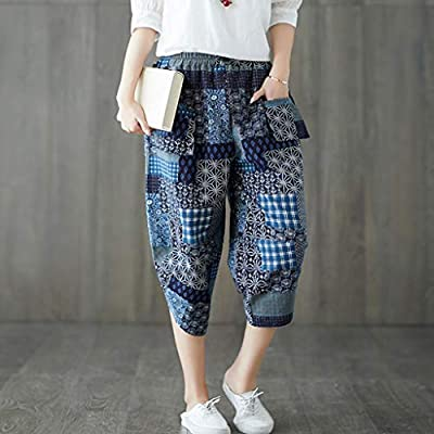 Loose Trousers Women Vintage Casual Cotton Linen Calf-Length Harem Pants