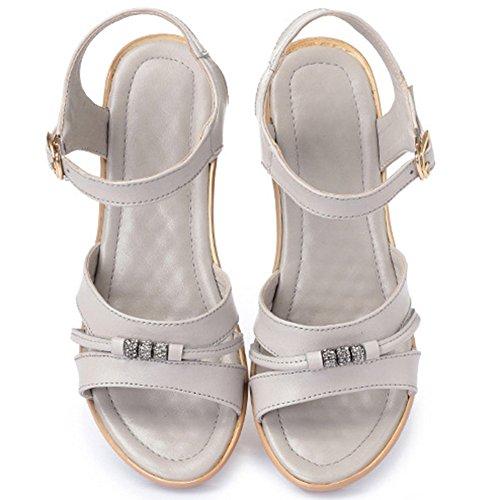 Femme Bout Compensée Taille Cuir 40 Ouvert Sandales Confort Simple CM 42 Boucles Gris Strass Eté Grande Chaussure 43 41 5 wealsex gYq8wECx