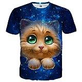 Neemanndy Unisex Teen Girls Boys Cute Cat Print Short Sleeve T Shirts for Summer, XX-Large