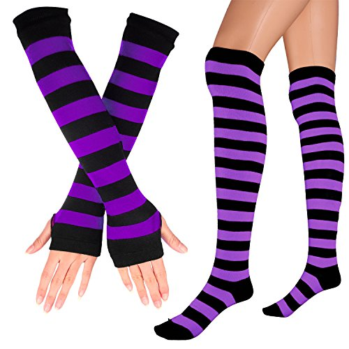 Womens Extra Long Striped Socks(Over Knee High Opaque Stockings ) & Long Arm Warmer Gloves(Punk Gothic Rock) (Black & Purple, OneSize) ()