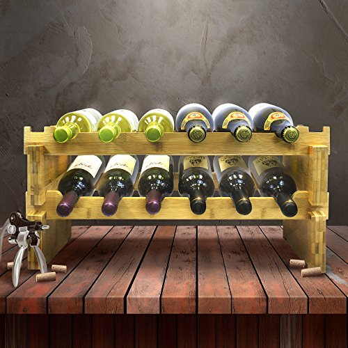 Sorbus 2-Tier Stackable Bamboo Wine Rack— Classic Style Wine Racks for Bottles— Perfect for Bar, Wine Cellar, Basement, Cabinet, Pantry, etc.—Holds 12 Bottles (2-Tier, Natural) by Sorbus (Image #2)