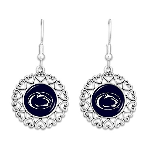 FTH Penn State Nittany Lions Logo Circle Earrings with Hearts