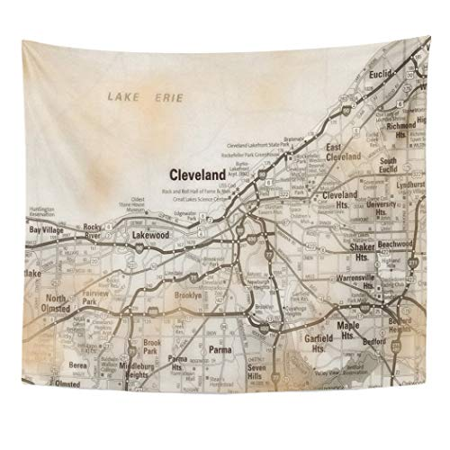 Semtomn Tapestry Artwork Wall Hanging States USA Ohio Cleveland Vintage United America Towns Cities 50x60 Inches Home Decor Tapestries Mattress Tablecloth Curtain Print for $<!--$19.90-->