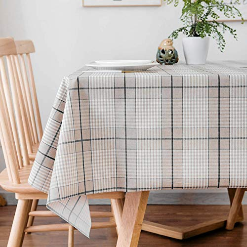 LEEVAN Heavy Weight Vinyl Rectangle Table Cover Wipe Clean PVC Tablecloth Oil-Proof/Waterproof -