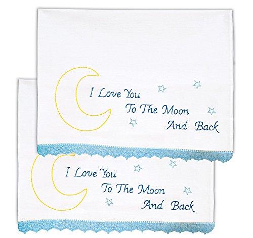 Jack Dempsey Needle Art Love You to the Moon Hemstitch Edge Pillowcases - Edge Pillowcases