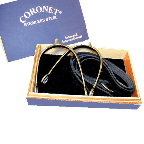 Show Spur Straps - Coronet Women's Prince of Wales English Show Spurs with Boxed Spur/Leather Straps, 1/2-Inch