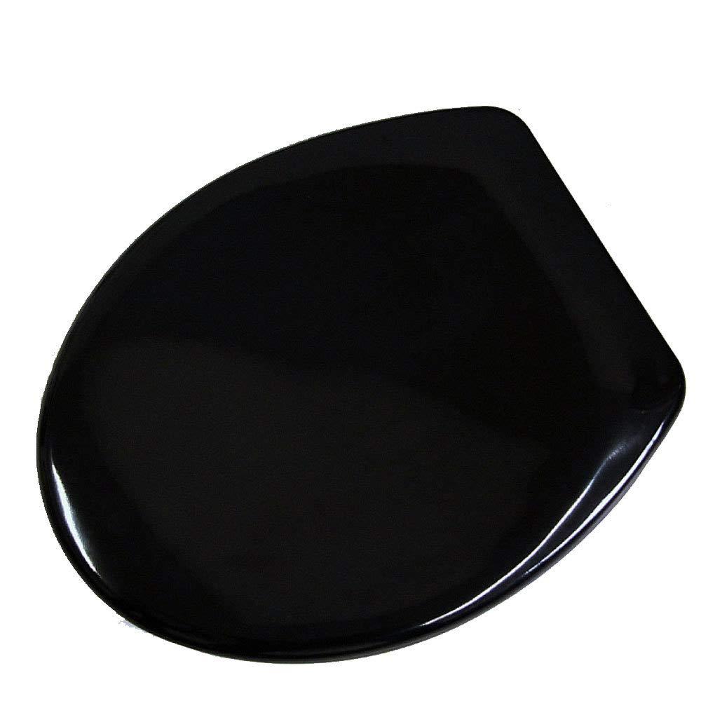 Black CTAO Toilet Seat Buffer European Style Resin Lid Thicken Slow-Close Universal Toilet Seat,Black