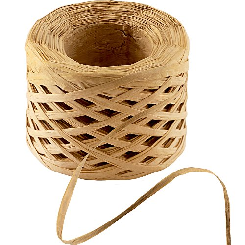 Supla 109 Yard Beige Matte Paper Raffia Ribbon 1/4 inch Wide Raffia Rope Paper Ribbon Straw Rope Paper String Packing Rope Gift Wrap