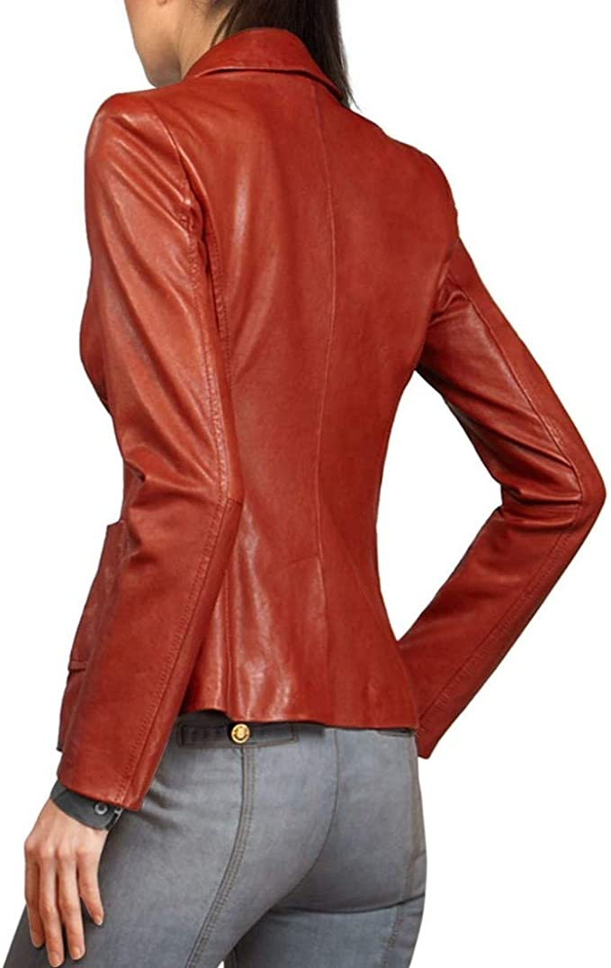 Woojo New Brand Womens Genuine Lambskin Leather Jacket Biker Slim fit Motorcycle Jacket/ WO057