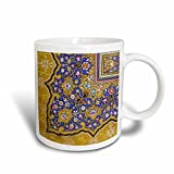 3dRose mug_162530_3 Purple and Matte Gold Arabian Floral Pattern Persian Style Flowers, Swirls Arab Islamic Turkish Magic Transforming Mug, 11-Ounce