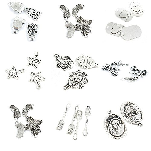 34 Pieces Antique Silver Tone Jewelry Making Charms Pray For US Dinner Fork California Map Tag Motorcycle Show Rider Perform Mary Just You Handmade Star Forever Love Signs Brave Troops Fortunate Toad