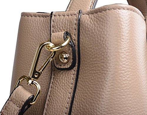 Women Handle White for Small Iswee Leather Shoulder Bag Handbag Tote Genuine Messenger Top Bag Women's Bucket Bag Purse Crossbody TURzUq
