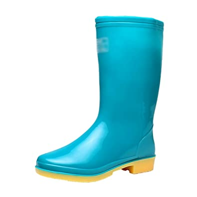 LvRao Damen Langschaft Regenstiefel Flach Einfarbig Slip-on Casual Festival Garten Stiefel Gummistiefel (Blau, CN 39/EU 38)