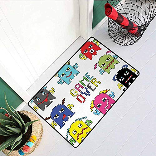 GloriaJohnson 90s Welcome Door mat Pixel Robot Emoticons with Game Over Sign Inspired by 90s Computer Games Fun Artprint Door mat is odorless and Durable W23.6 x L35.4 Inch Yellow Red]()