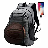 GOHIGH Basketball Backpack, Soccer Backpack, Football Backpack, Computer Backpack Business Laptop Backpack with USB Port, Headphone Pouch and Ball Holder with Basketball Net for Women/Men - Gray