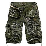 MR. R Men's Loose Fit Cargo Shorts Green Camo 42