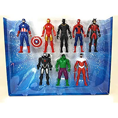 Marvel Avengers Action Figures - Iron Man, Hulk, Black Panther, Captain America, Spider Man, Ant Man, War Machine & Falcon! (8 Action Figures): Toys & Games