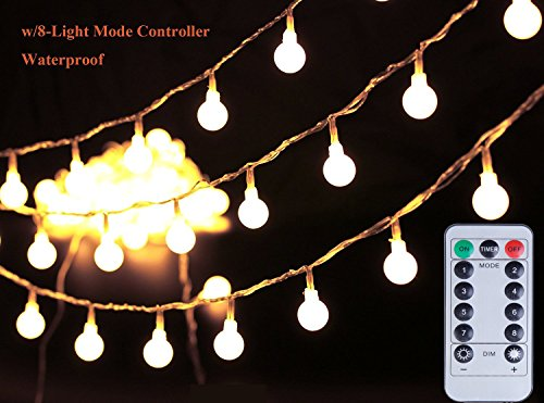 [Remote & Timer] 100 LED 36ft Ball LED String Lights 8 Modes UL Listed With Remote for Indoor/Outdoor Commercial Decor, Gardens, Patio, Wedding, Bedroom, Christmas Party Decoration, Warm White