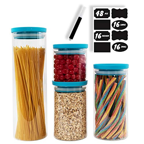 BERG & MON Stackable Airtight Food Storage Containers with Lids+Chalkboard Labels & Marker- Canister set of 4 Kitchen Glass Jars for pantry storage