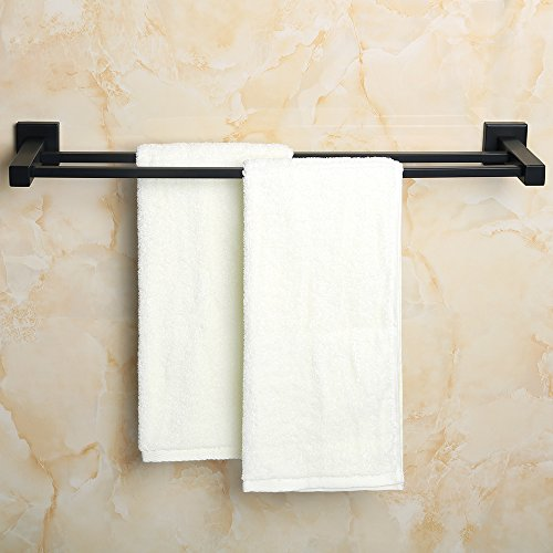 Replacement Towel Bar Post - SAYAYO Double Towel Rail Towel Bar Towel Holder/Rack 24-Inches Wall Mounted, Stainless Steel Matte Black, AB6000GZ-FBA