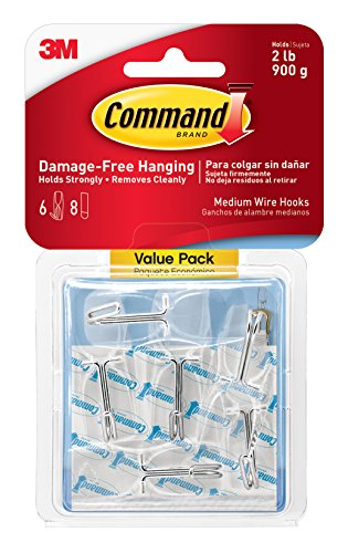 Command Wire Toggle Hook Value Pack, Medium, Clear, 6-Hooks
