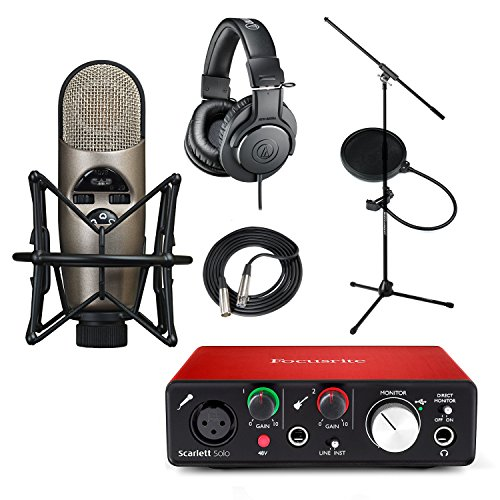 Focusrite Scarlett Solo (2nd Gen) USB Audio Interface and Recording Bundle with Pro Tools | First CAD M179 Condenser Mic with Mic Stand ATH-M20x Filter & XLR