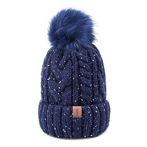 REDESS Women Winter Pom Pom Beanie Hat with Warm Fleece Lined, Thick Slouchy Snow Knie Skull Ski Cap by (Winter Knit Ski)
